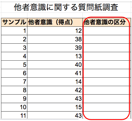 エクセルを使った度数分布表の作り方3